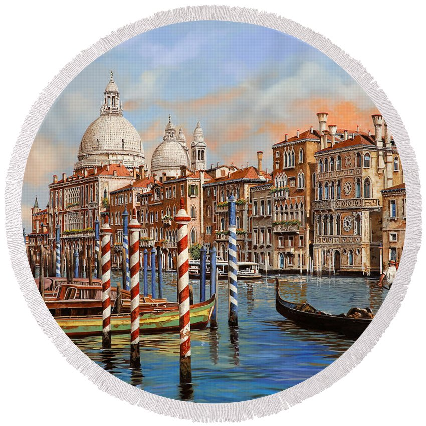 Canals Round Beach Towels