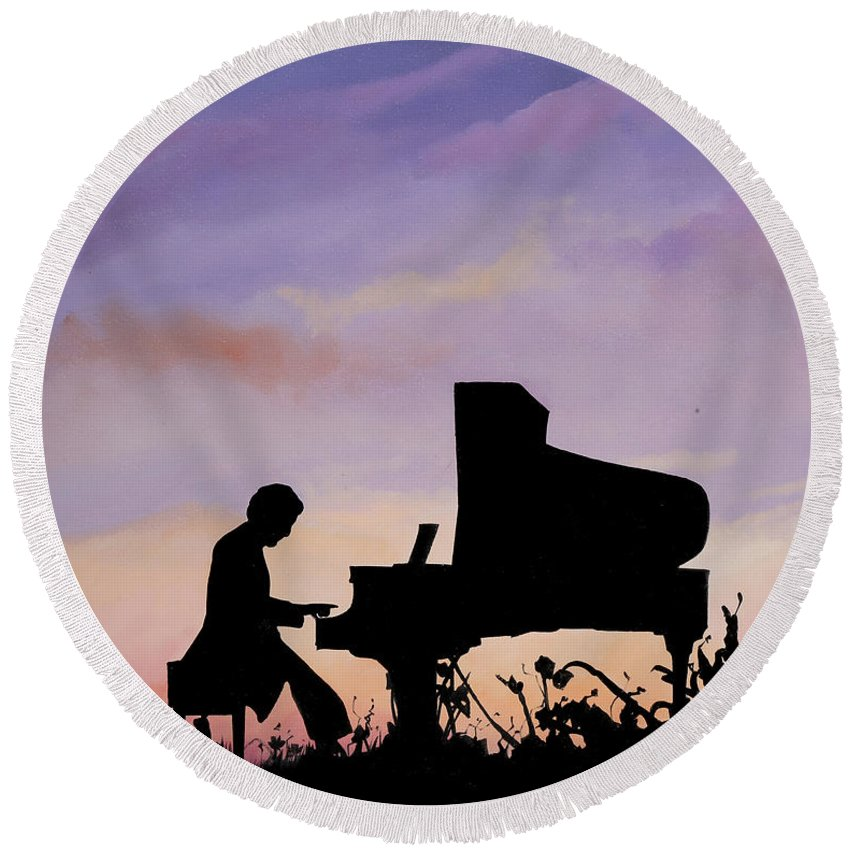 Piano Paintings Round Beach Towels