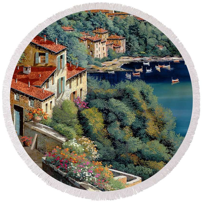 Italy Round Beach Towel featuring the painting Il Promontorio by Guido Borelli