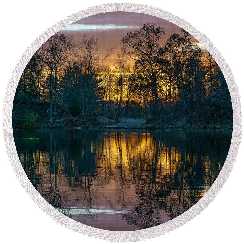 Pond Round Beach Towel featuring the photograph I'll See You On The Other Side by Amy S Klein