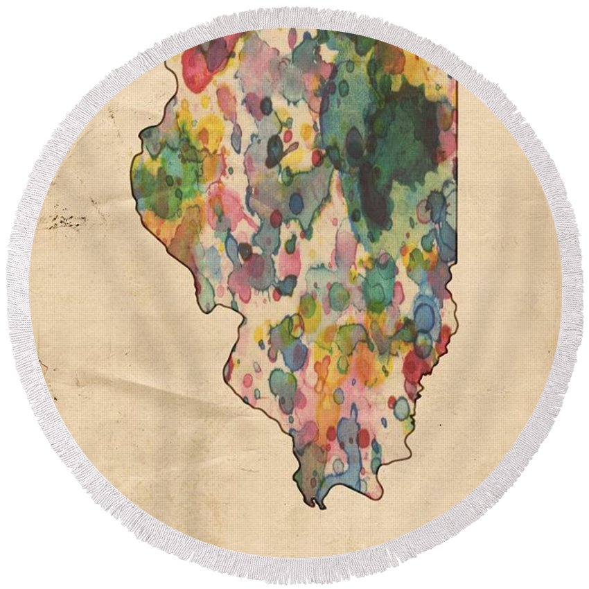 Illinois Round Beach Towel featuring the painting Illinois Map Vintage Watercolor by Florian Rodarte