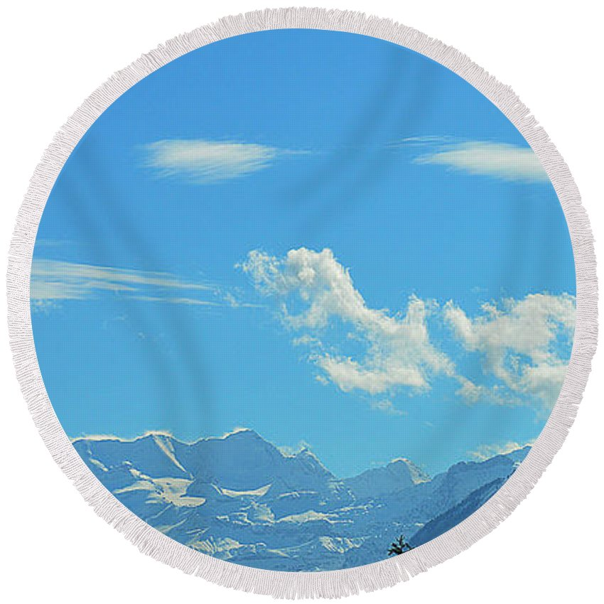 Alps Round Beach Towel featuring the photograph Illuminated by Felicia Tica