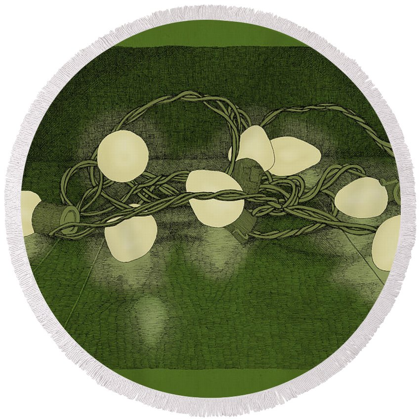 Lights Holiday Christmas Green Round Beach Towel featuring the drawing Illumination Variation #1 by Meg Shearer