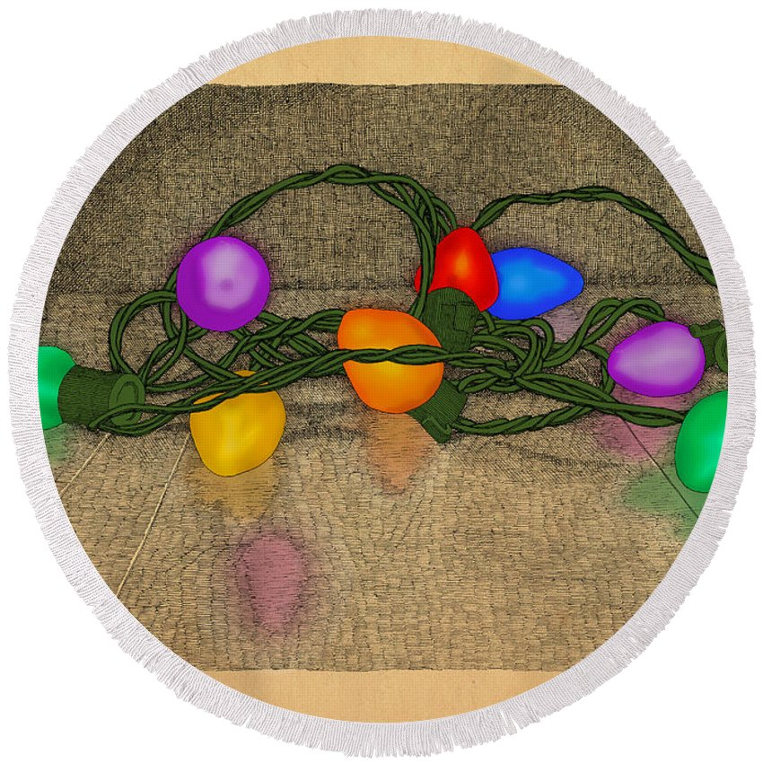 Lights Colors Holiday Christmas Round Beach Towel featuring the drawing Illumination Variation #3 by Meg Shearer