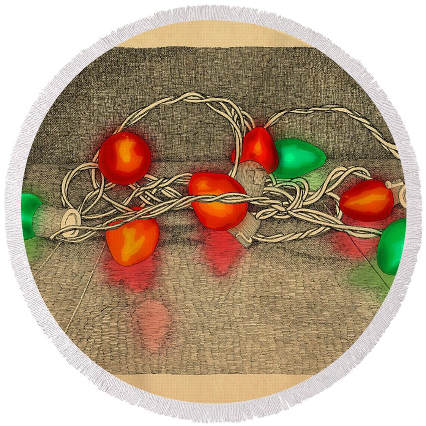 Lights Red Green Holiday Christmas Round Beach Towel featuring the drawing Illumination Variation #4 by Meg Shearer