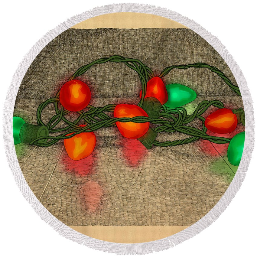 Lights Red Green Holiday Christmas Round Beach Towel featuring the drawing Illumination Variation #5 by Meg Shearer