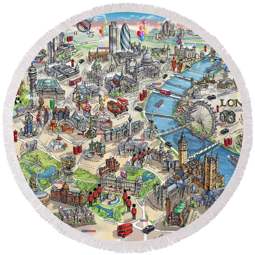 London Map Round Beach Towel featuring the painting Illustrated Map Of London by Maria Rabinky