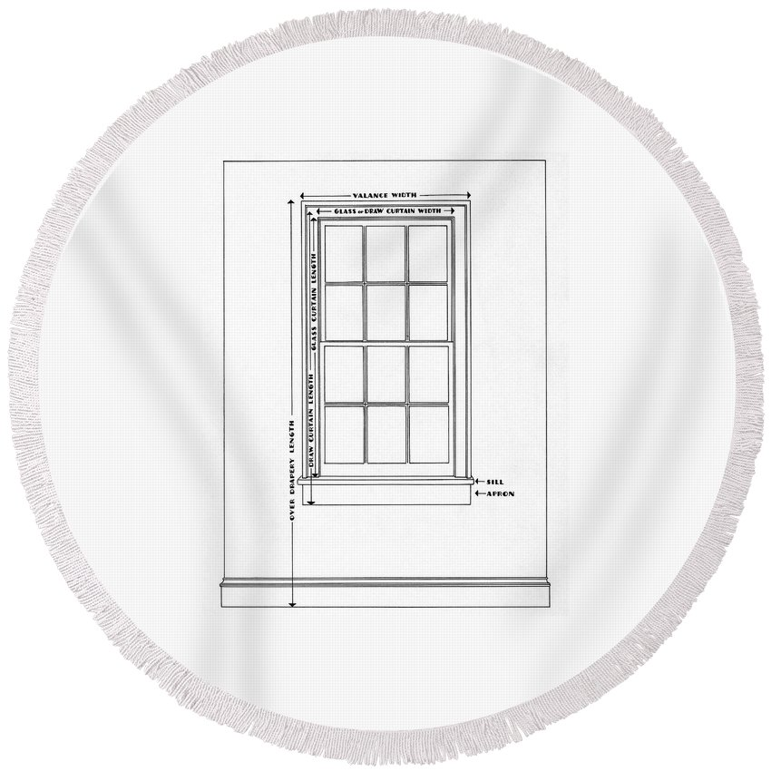 Illustration Round Beach Towel featuring the digital art Illustration Of A Window by Harry Richardson