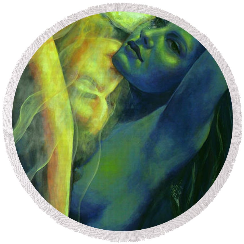 Fantasy Round Beach Towel featuring the painting Ilussion In The Mirror by Dorina Costras