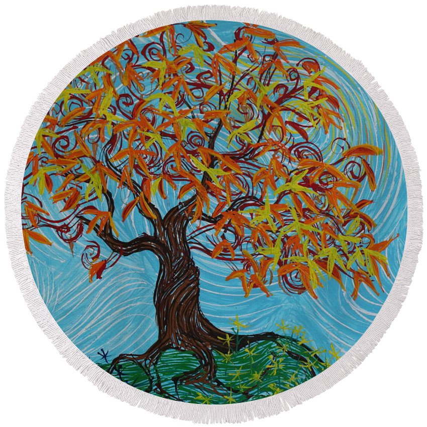 Impressionism Round Beach Towel featuring the painting I'm A Happy Tree by Stefan Duncan