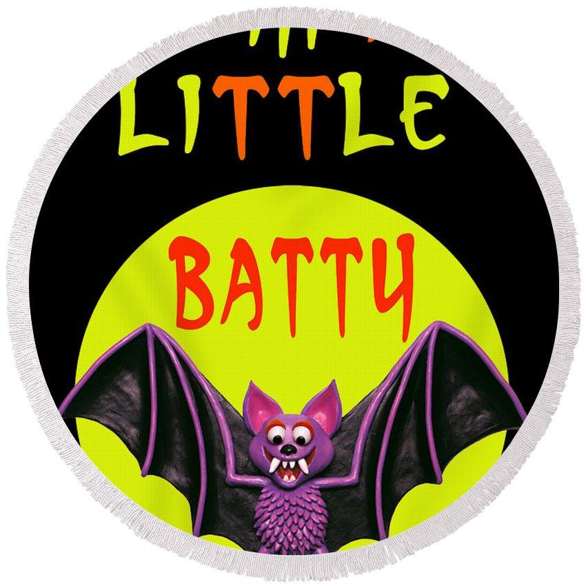 Halloween Cards Round Beach Towel featuring the digital art I'm A Little Batty by Amy Vangsgard