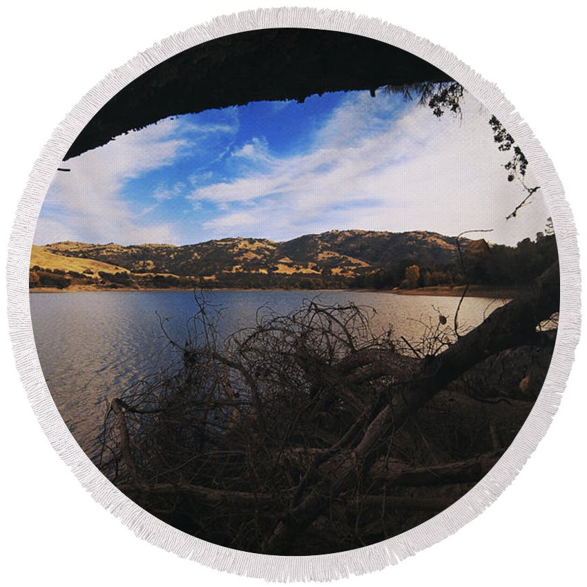 Lake Del Valle Recreation Area Round Beach Towel featuring the photograph I'm Here If You Fall by Laurie Search