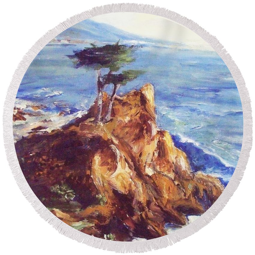 Seascape Round Beach Towel featuring the painting Imaginary Cypress by Eric Schiabor