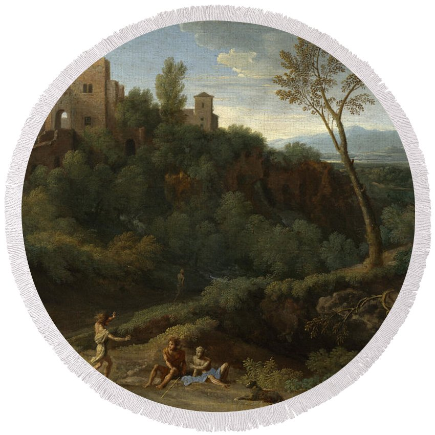 Gaspard Dughet Round Beach Towel featuring the painting Imaginary Landscape With Buildings In Tivoli by Gaspard Dughet