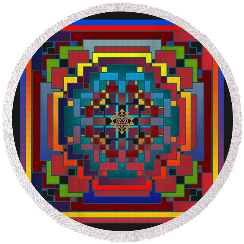 Digital Round Beach Towel featuring the digital art Imbroglio 2012 by Kathryn Strick