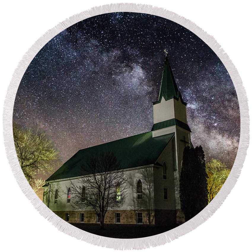 Milky Way Round Beach Towel featuring the photograph Immanuel Lutheran Church by Aaron J Groen