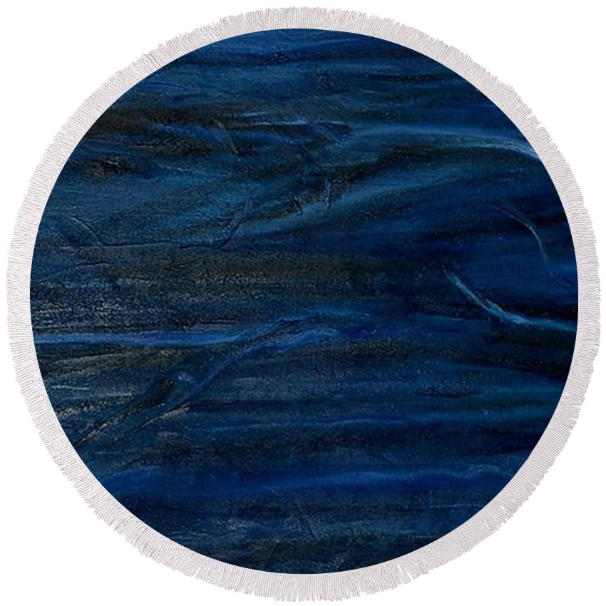Abstract Round Beach Towel featuring the painting Immense Blue by Silvana Abel