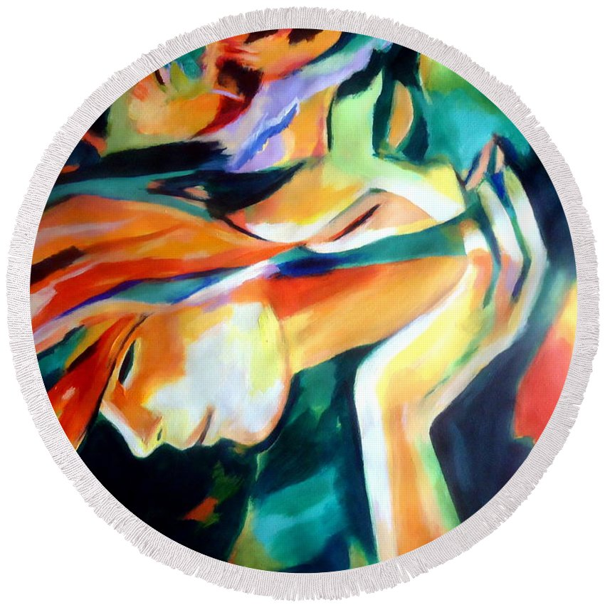 Affordable Original Paintings Round Beach Towel featuring the painting Immortal Love by Helena Wierzbicki