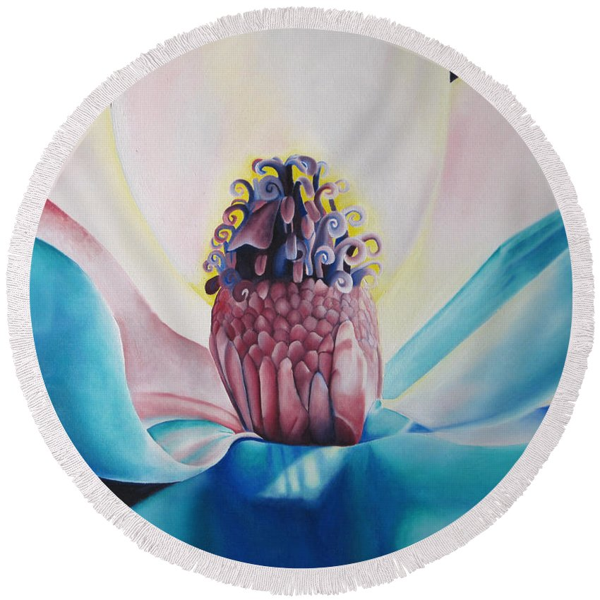 Flower Round Beach Towel featuring the painting Imogen Flower by Joshua Morton
