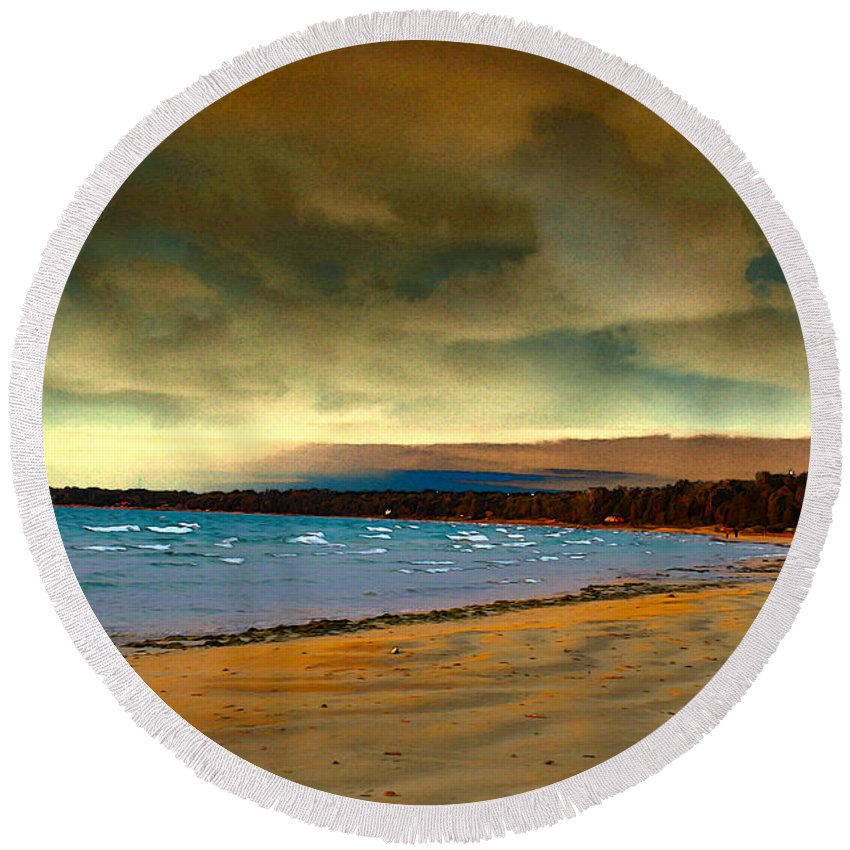 Beach Round Beach Towel featuring the photograph Impending Storms by Nina Silver