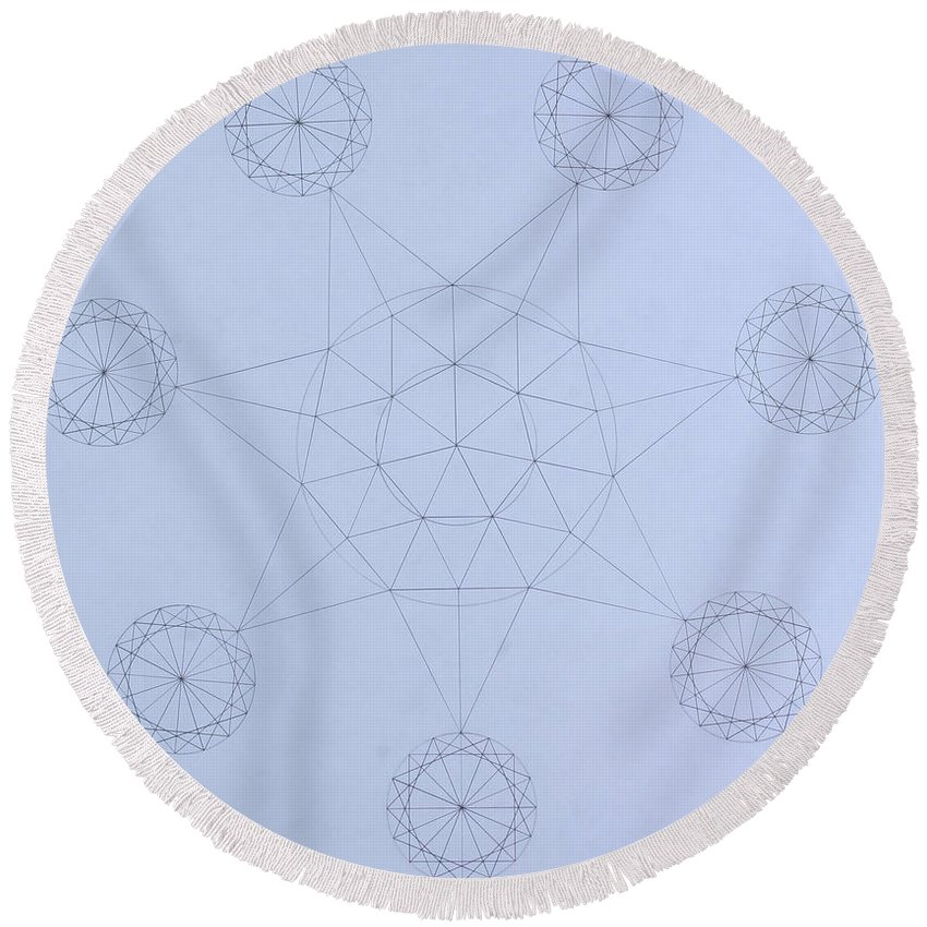 Jason Padgett Round Beach Towel featuring the drawing Impossible Parallels by Jason Padgett