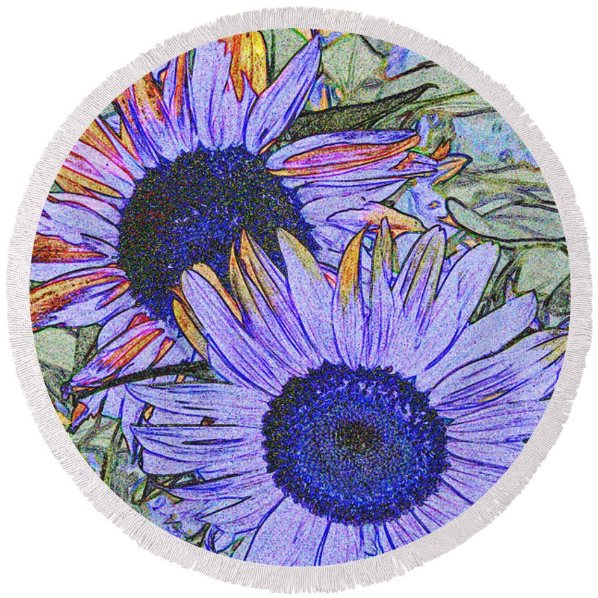 Sunflower Round Beach Towel featuring the photograph Impressionism Sunflowers by Christiane Schulze Art And Photography