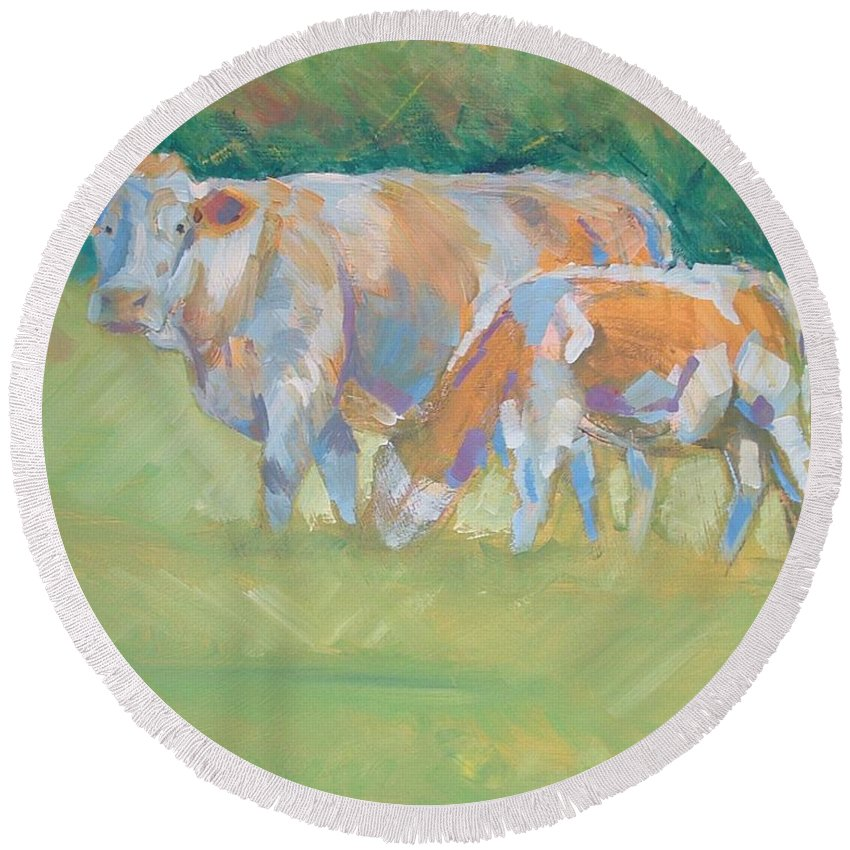 Mike Round Beach Towel featuring the painting Impressionist Cow Calf Painting by Mike Jory