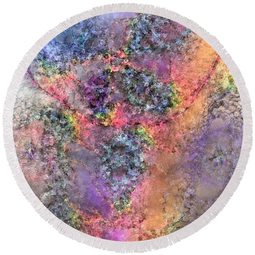Abstract Round Beach Towel featuring the digital art Impressionist Dreams 2 by Casey Kotas