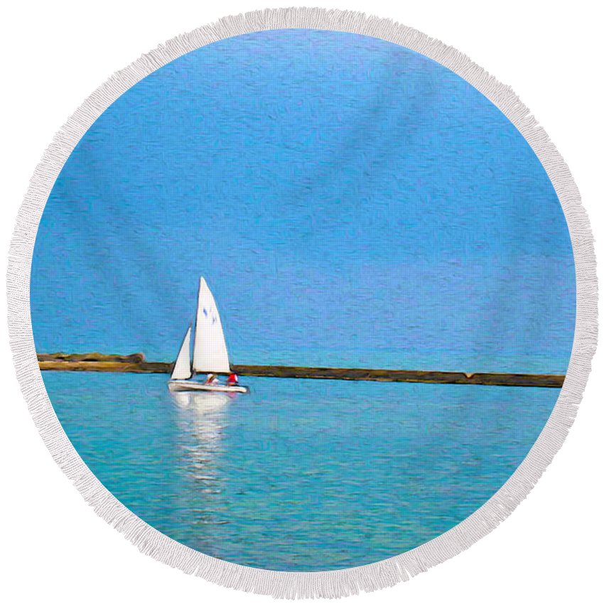 Blue Round Beach Towel featuring the photograph Impressions Of Sailing by Nina Silver