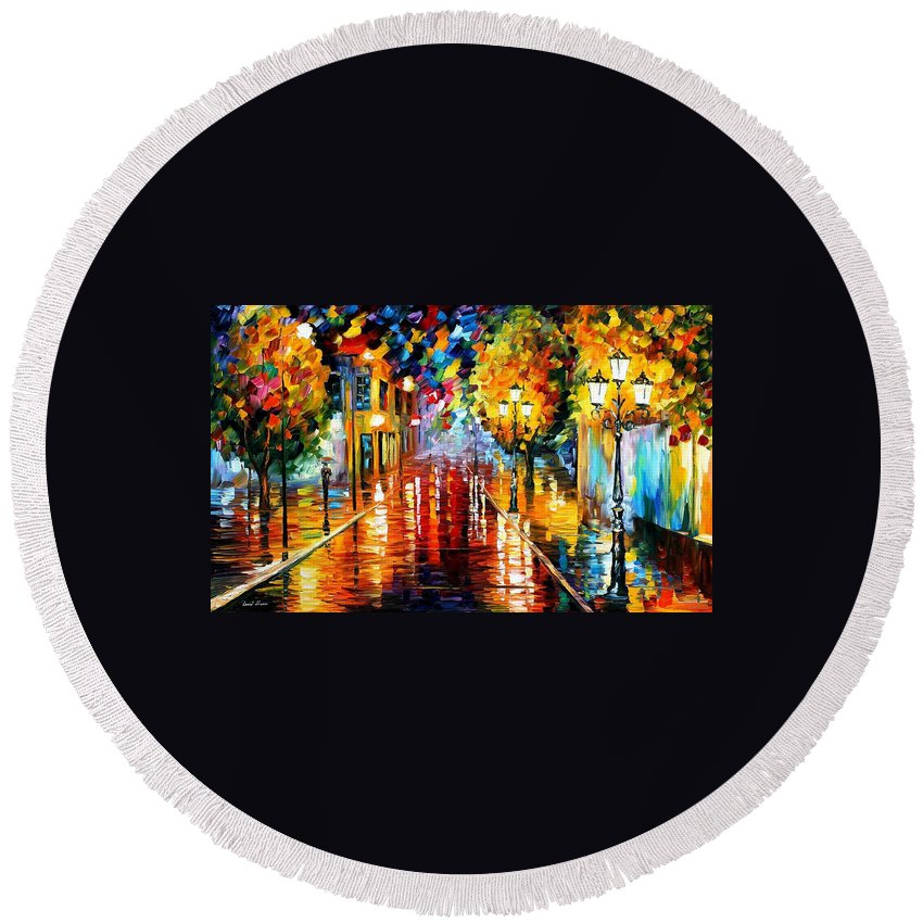 Art Gallery Round Beach Towel featuring the painting Improvisation Of Lights - Palette Knife Oil Painting On Canvas By Leonid Afremov by Leonid Afremov