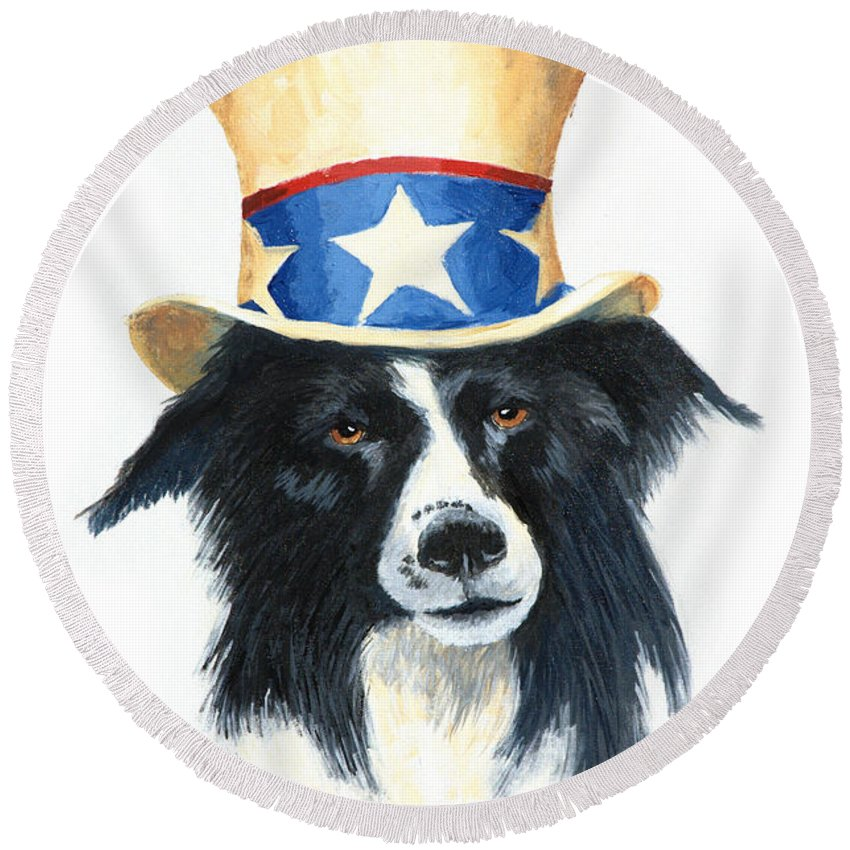 Dog Round Beach Towel featuring the painting In Dog We Trust by Jerry McElroy