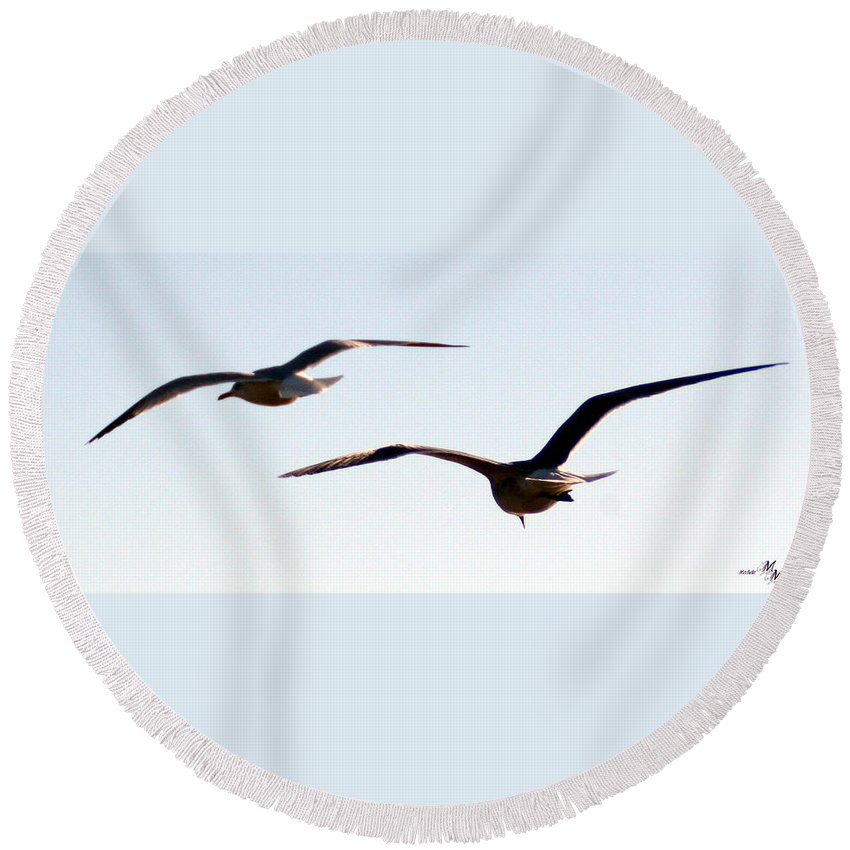 Birds Flying Round Beach Towel featuring the photograph In Flight by Mechala Matthews