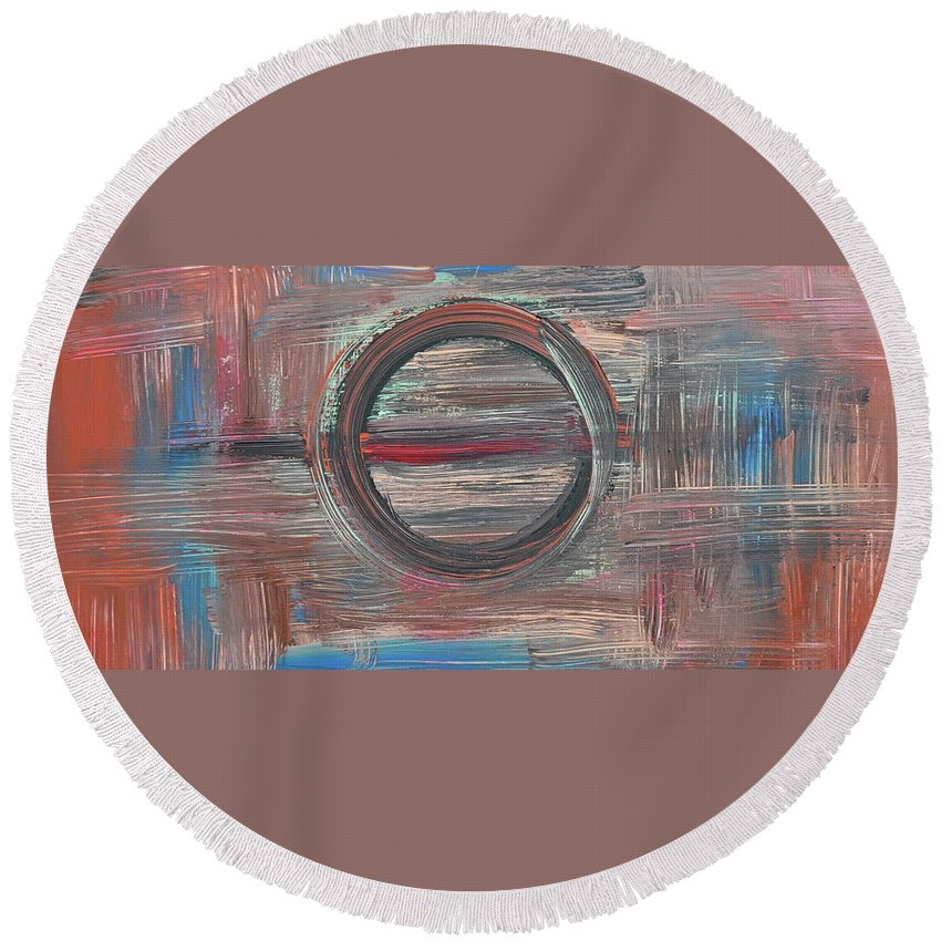Abstract Round Beach Towel featuring the painting In Focus by Kimberly Maxwell Grantier