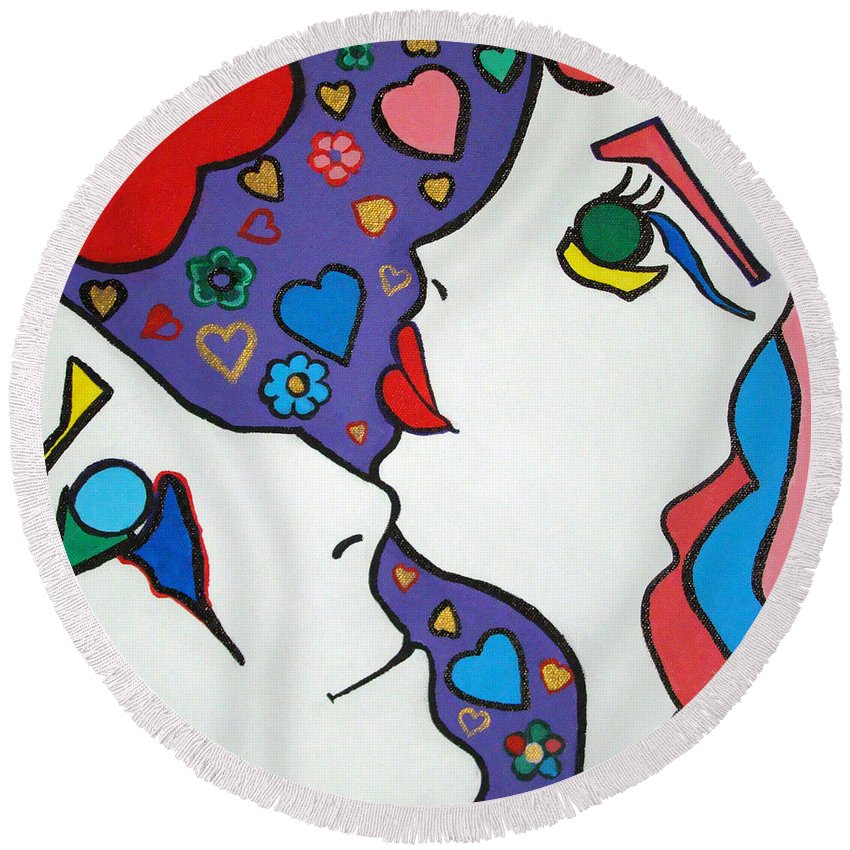 Pop-art Round Beach Towel featuring the painting In Love by Silvana Abel