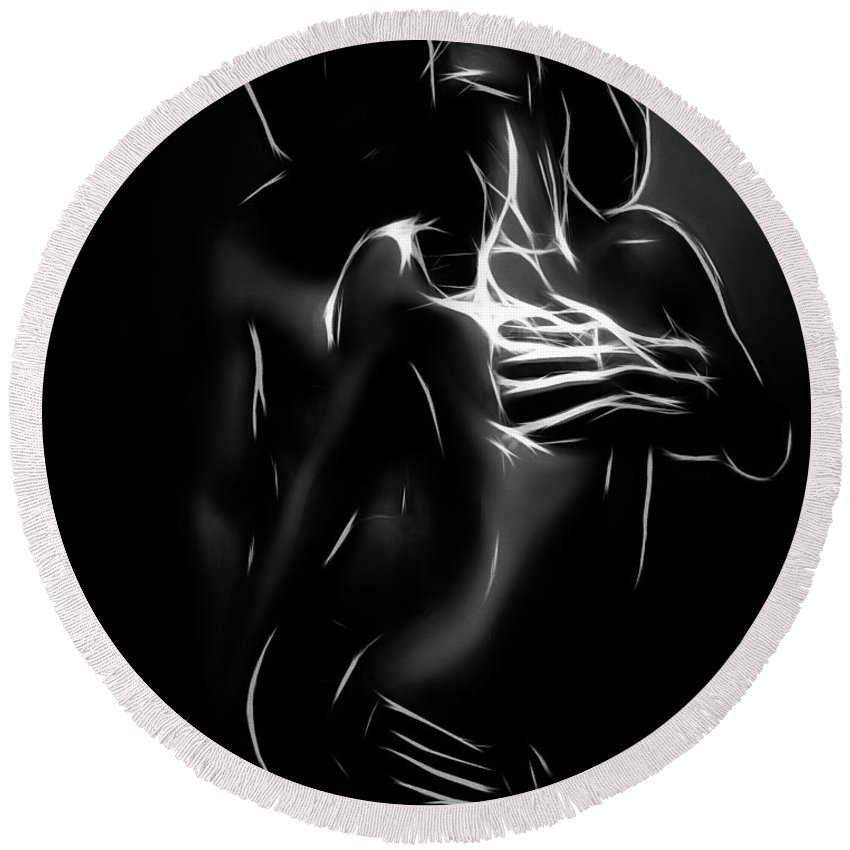 Couple Female Male Girl Boy Man Woman Love Lover Lovers Sex Erotic Black White Minimalism Erotic Painting Expressionism Hug Nude Boobs Naked Round Beach Towel featuring the painting In Love by Steve K