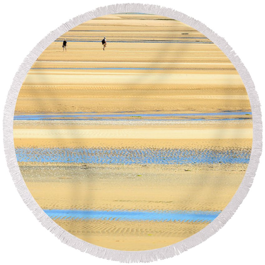 Bay; Sea; Low Tide; Dry; Wet Round Beach Towel featuring the photograph In Tasman Sands by Alexey Stiop