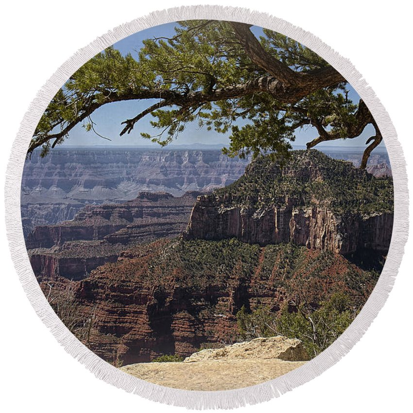 Grand Canyon Round Beach Towel featuring the photograph In The Beauty by Lucinda Walter