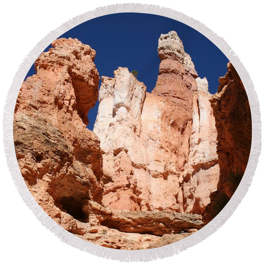 Canyon Round Beach Towel featuring the photograph In The Bryce Canyon by Christiane Schulze Art And Photography