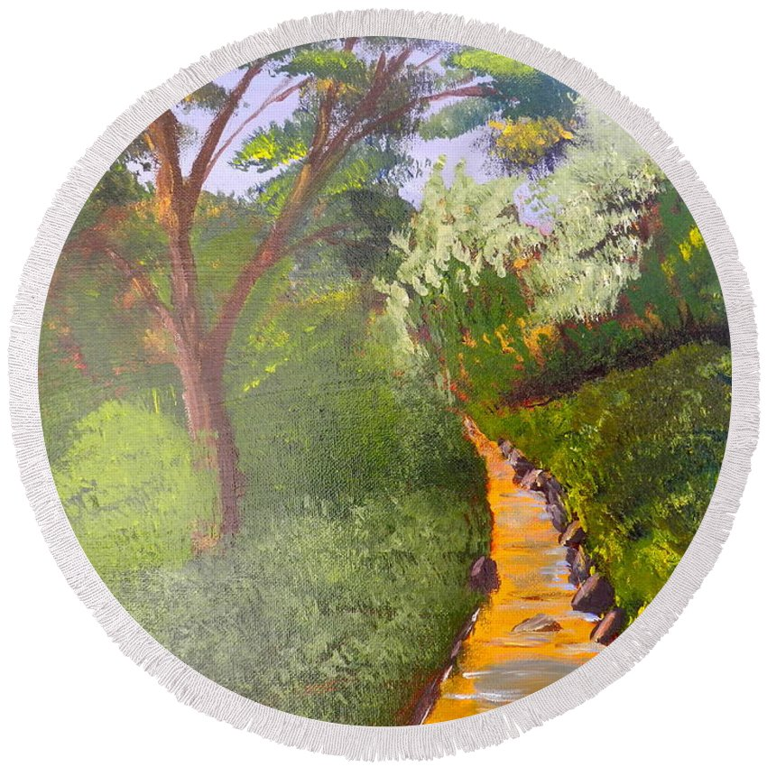 Impressionism Round Beach Towel featuring the painting In The Bush Near My Place by Pamela Meredith