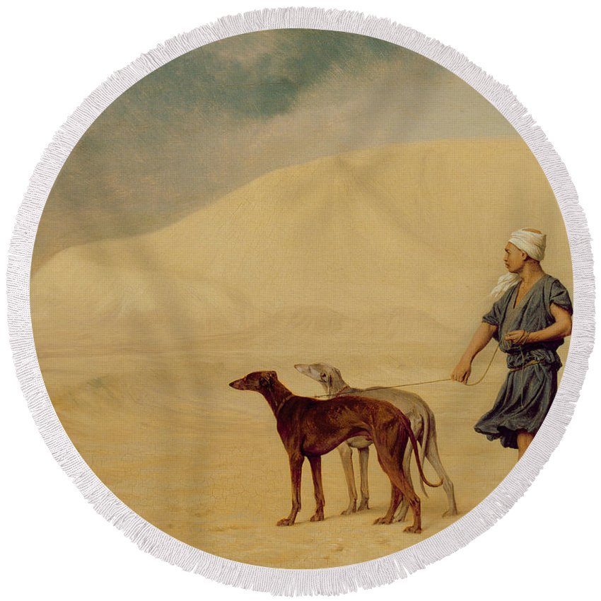 Male; Arab; Turban; Dog; Dogs; Greyhound; Orientalist; Sand; Desert Round Beach Towel featuring the painting In The Desert by Jean Leon Gerome