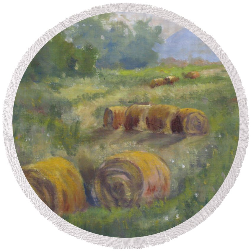 Agricultural Round Beach Towel featuring the painting In The Field by Mohamed Hirji