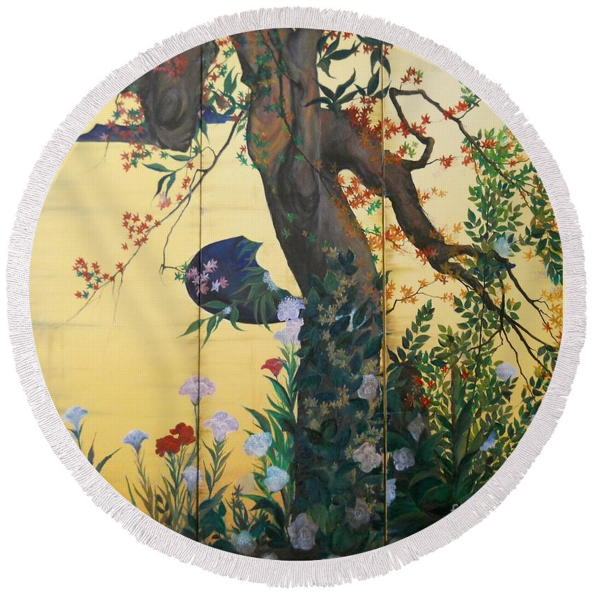 Flowers Paintings Round Beach Towel featuring the painting In The Garden by Sorin Apostolescu