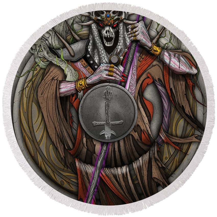 Usherwood Round Beach Towel featuring the digital art In The Halls Of The Mage-king by James Kramer