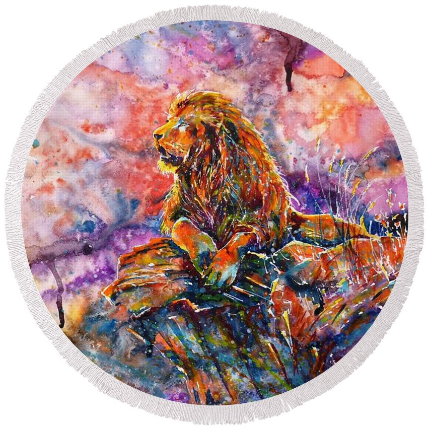 In The Jungle Round Beach Towel featuring the painting In The Jungle... by Zaira Dzhaubaeva