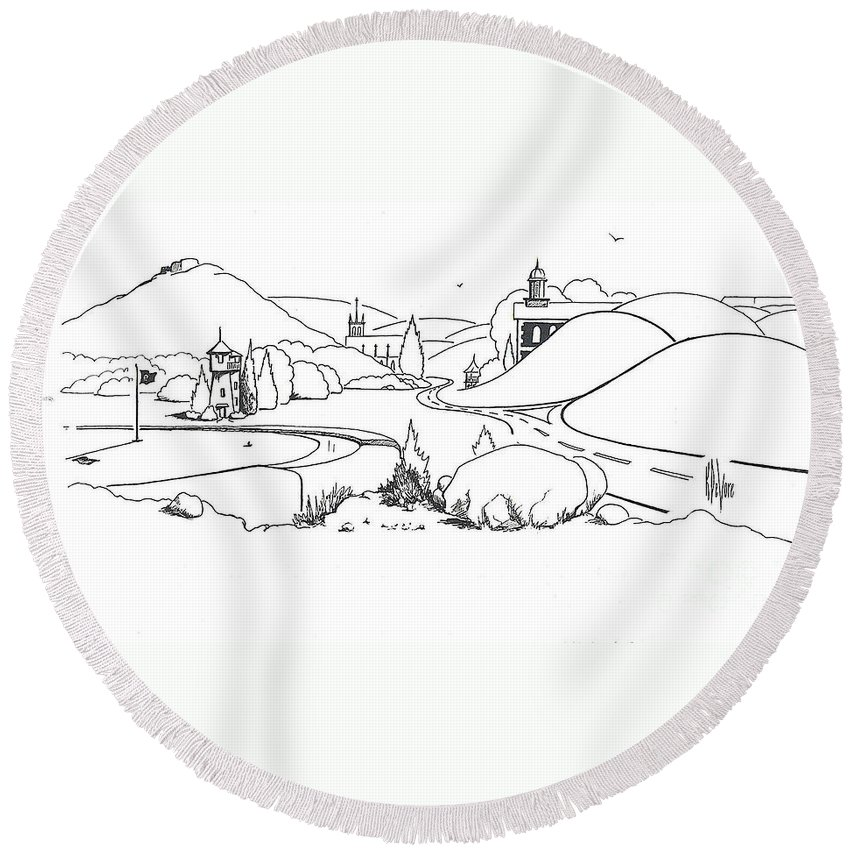 In The Land Of Brigadoon Round Beach Towel featuring the drawing In The Land Of Brigadoon by Kip DeVore
