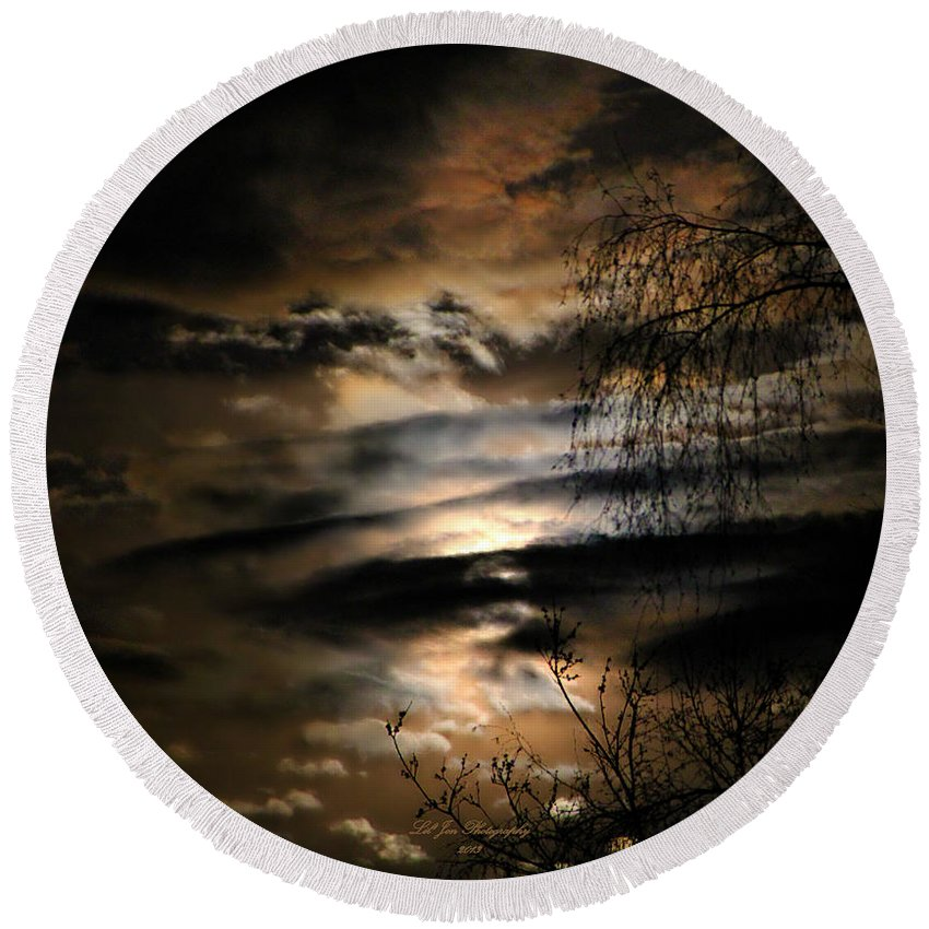 Obscured Round Beach Towel featuring the photograph In The Midnight Hour II by Jeanette C Landstrom