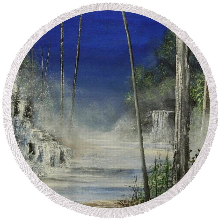 Sea Round Beach Towel featuring the painting In The Mist Do Not Miss The Sea by Daniel Sanchez
