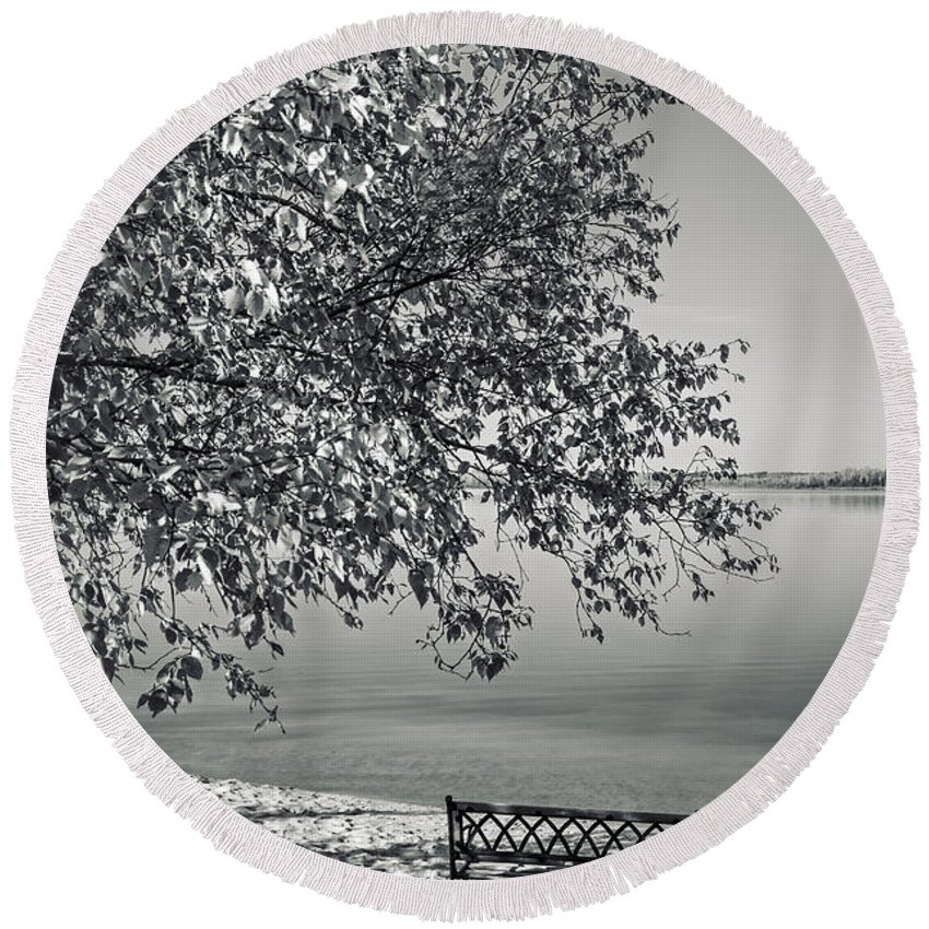 Lake Round Beach Towel featuring the photograph In The Moments When We Breathe by Sandra Parlow