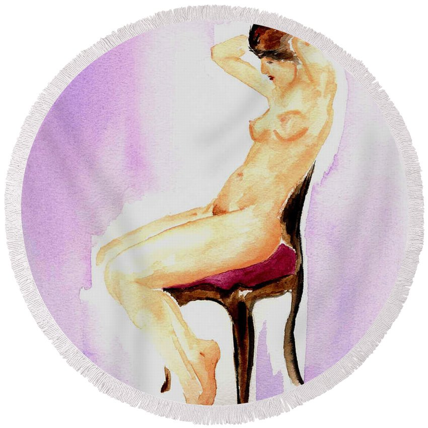 Woman Round Beach Towel featuring the painting In The Parlor by Donna Blackhall