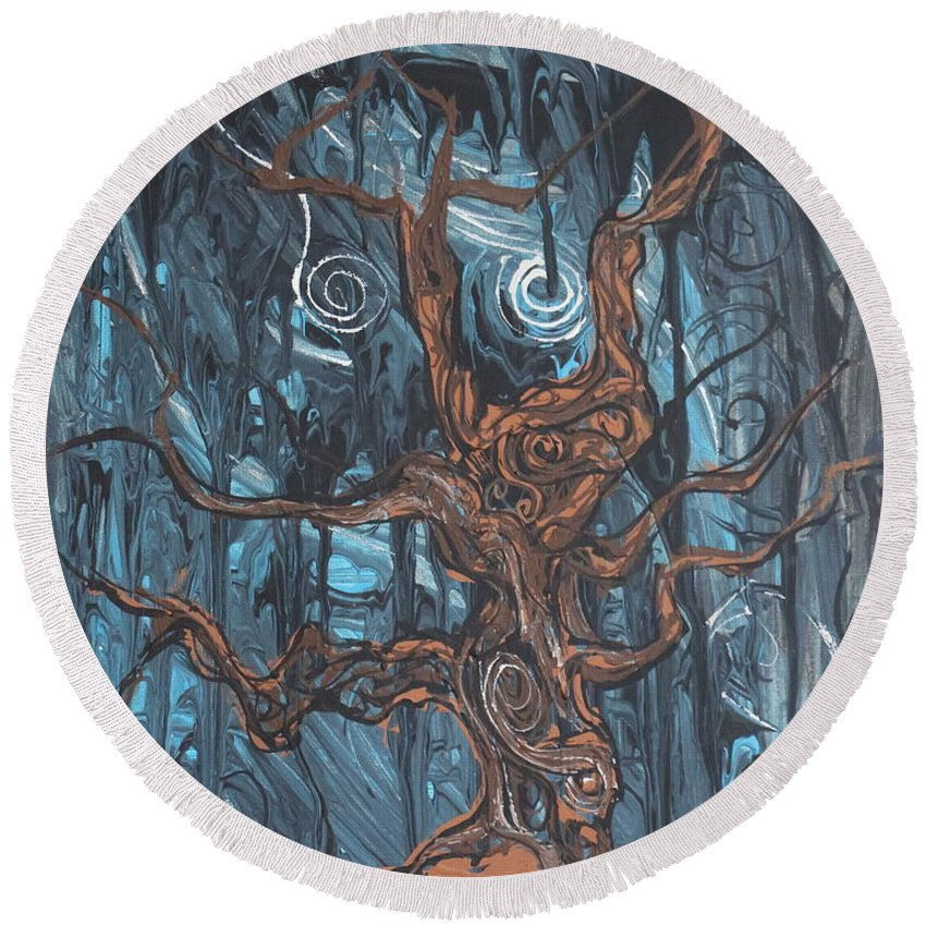 Landscape Round Beach Towel featuring the painting In The Spook Of The Night by Stefan Duncan